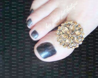 Big Toe Ring | Amber Glass | Stretch Bead Toe Ring