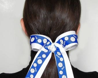Volleyball Bow, Volleyball Blue White Silver Ribbon Bow, Ponytail Holder Accessories, Bump Block Spike Attack Tournament, Team Bulk Price