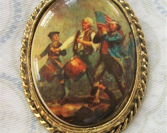 Vintage Spirit of '76 cameo brooch