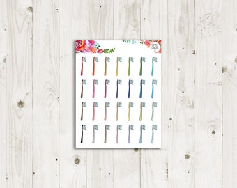 Toothbrush Stickers - ECLP, Happy Planner, TN Planner Stickers