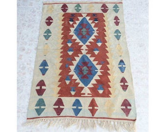 "Vintage Southwest Geometric Wool Rug 68"" x 42"", Native American Collectable Wool Rug, Navajo Rug, Hand Woven"