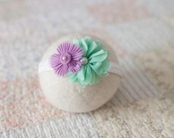 Mint and Purple Headband, Purple Baby Headband, Mint Green Headband, Lavender Newborn Headband, Mint Green Baby Headband, Newborn Photo Prop