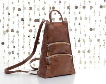 Brown leather backpack, brown backpack, backpack purse, leather rucksack, women backpack, mini backpack, zipper backpack, brown rucksack