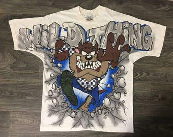 Looney Tunes Shirt 1995 90s Vintage Taz All Over Tasmanian Devil Cartoon Tshirt Wild Thing Bugs Bunny Official Warner Brothers Tee  Large