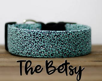 """Modern Turquoise Leopard Print Fashion Inspired Dog Collar """"The Betsy"""""""