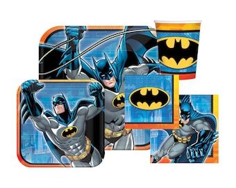 Batman Party Pack - Paper Plates, Napkins & Cups - Party Supplies, Tableware