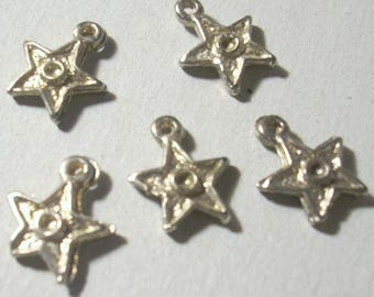 5 beads 12mm silver plated star charms