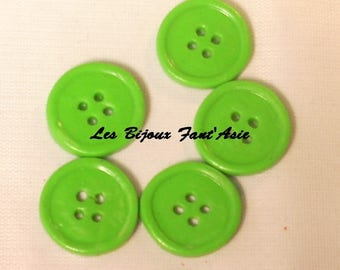 Set of 5 handmade buttons 15mm lime green round polymer clay