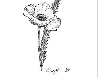 California Poppy Tattoo