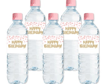 DIY Happy Birthday Water Bottle Labels, Blush Pink Gold Glitter Printable Bottle Labels, Drink Wrappers, Confetti Party Labels, DIGITAL FILE