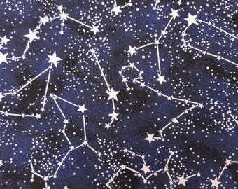 100% Cotton Quilt Galxay Glow in the Dark Stars Print Fabric by the Yard 11/17