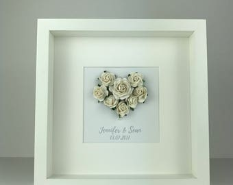 Personalised 3D rose heart frame | wedding engagement and anniversary gifts | personalised gift