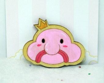 Blobfish handpainted wooden pin