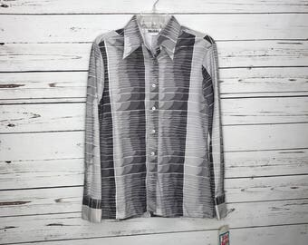 Vintage 70's womens grey button down blouse