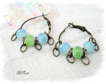 Earrings turquoise striped hoops 3 green beads BO498