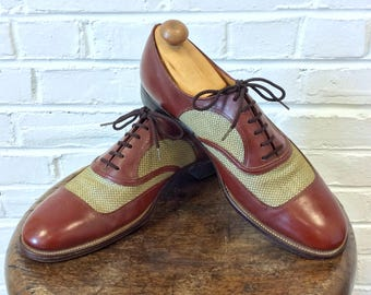 Vintage Men's 1940s 1950s Two Tone Mesh Spectator Wingtip Shoes w/ Cats Paw Heels by the Hanover Shoe Co. Size 9 1/2 C