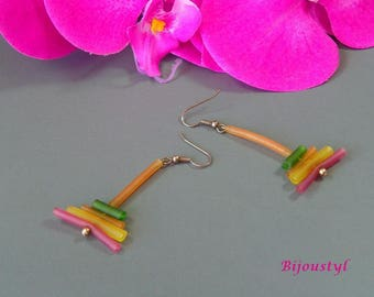 PVC pipe pvc of various colors earrings