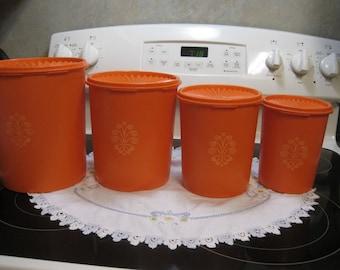 Four Vintage Tangerine Orange Tupperware Canisters 1970,s