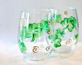 Shamrock Wine Glasses, St Patricks Day Wine Glasses  Irish gifts, Irish Wedding, Irish Decor, Celtic Gifts, St Patricks Day Gifts