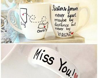 Sister Gift, Sisters Moving Mug, Long Distance Mug, Sisters Forever, Long Distance ,Moving Mug, Sisters, Sister Birthday, Going Away Gift
