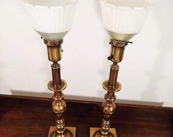 rembrandt torchiere table lamps pair of vintage hollywood regency brass table lamps tall with - Torchiere