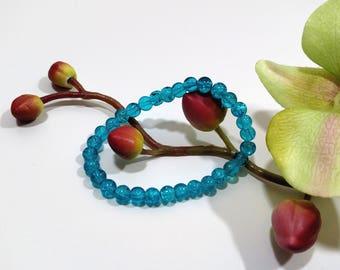 Sea blue crackle glass stackable stretch bracelet, Gift for her, Women's gift, Meditation bracelet.