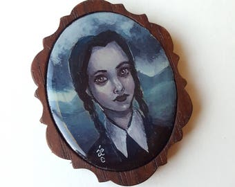 Wednesday Addams Too -  Miniature Acrylic Painting by Amy E Owers