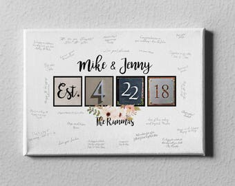SALE 50% Off Canvas Guest Book, Wedding Canvas Boho Floral Guest Book, Thumb Prints Guest Book Alternative, Wedding Gift for Couple - GB10