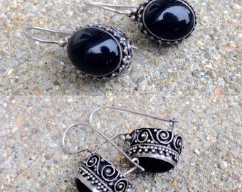vintage sterling silver filigree onyx lever-back dangle earrings