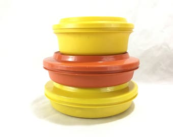 Vintage Tupperware Bowls with Plate Lids * Kitchen Storage Container * Press n Seal Orange Yellow