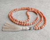 108 Mala - Pink Aventurine with Quartz Crystal - Meditation Necklace - Yoga Beads - Compassion & Empathy - Self Esteem - Item # 946