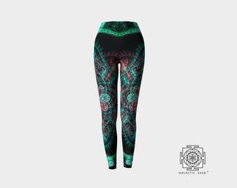Yoga Leggings , Printed Leggings , Yoga Pants , Womens Activewear , sacred geometry , Green , Womens Leggings , Sexy Pants , Boho Leggings