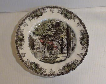 """Vintage Johnson Bros The Friendly Village Collection """"The Village Street"""" Serving Dish Hand Engraved Staffordshire Ware Made In England"""