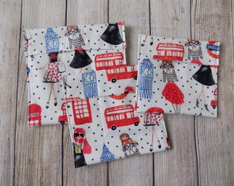 London Reusable snack bags set of 3