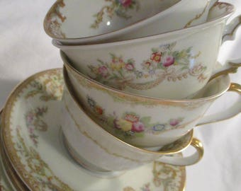 Vintage Mismatched China Cups & Saucers for Tea Party, Bridal Luncheons,Wedding, Tea Set,Showers, Hostess Gift, Bridesmaid Gift - Set of 4
