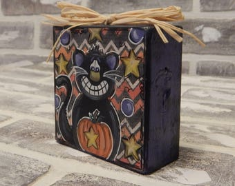 Mixed Media Halloween Wooden Block..Halloween Art..Pumpkin..Black Cat..Halloween Art..Halloween Mixed Media..Halloween Decor..Fall Decor