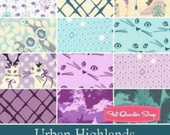 Urban Highlands by Violet Craft for Michael Miller Fabrics, Precut, 5 Inch Squares, Citrus, Cool Tones, Cat Fabric