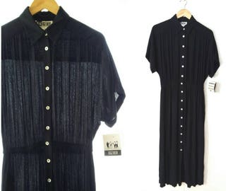 Vintage Black Semi Sheer Button Up Front Belted Shirt Dress Short Sleeve Rayon Size 10 Medium Large TOGETHER!