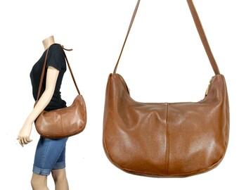 Chocolate Brown Soft Leather Shoulder Bag // Leather Scoop Shoulder Bag // H274