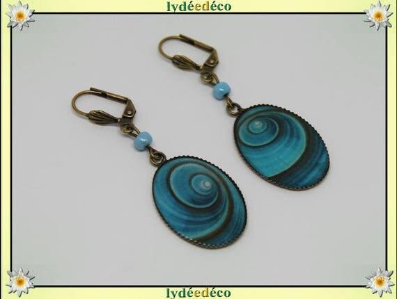 Retro earrings Brown turquoise blue shell vintage resin beads brass bronze pendants 18 x 25mm