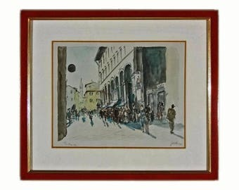 Modern Florence Cityscape Watercolor Painting Finely Framed - 1980's, Italy