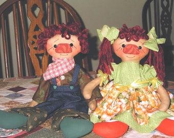 Cloth Dolls handmade Raggedies Banjo & Suri