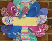Beautiful Beachy Flip Flop Wreath Can be Personalized Ocean Styles Door Decor Florida