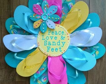"Beautiful ""Peace, Love & Sandy Feet"" Beach Print Flip Flop Wreath Costal Door Decor"