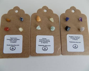 Natural Unique Stone Stud Earring Pack Mix and Match
