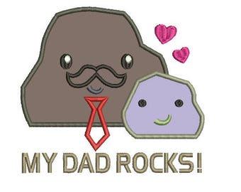 my dad rocks applique embroidery design
