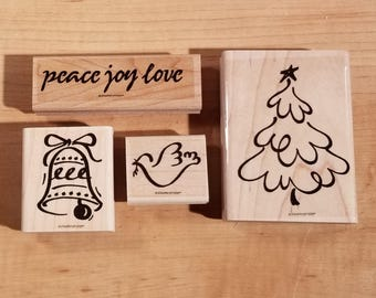 Stampin' Up Retired Set - 1995 Christmas Peace - Rubber Stamp Set of 4 - RS-047