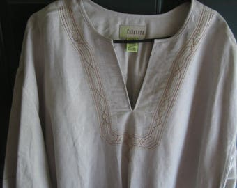 Emboidered Short Sleeved Men's Linen Shirt