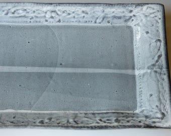 elegant gray rectangular tray