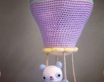 CROCHET PATTERN for Kawaii Hot Air Balloon Soft Sculpture and Panda Amigurumi